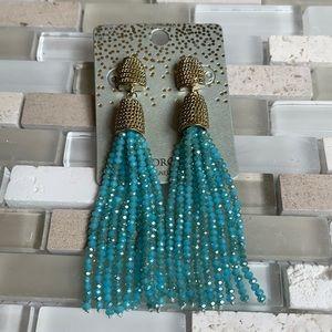 NWT Sparkle Fringe Blue Gold Chain Drop Studs